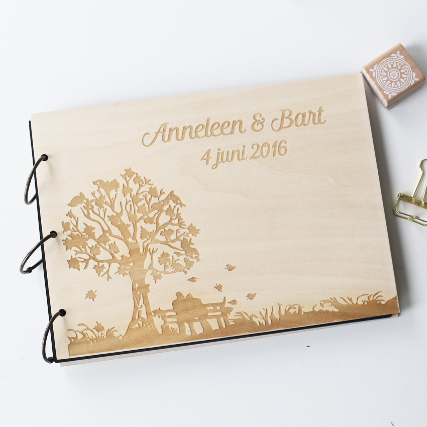 personalized engraved tree wedding photo album custom wood guestbook wooden wedding guest. Black Bedroom Furniture Sets. Home Design Ideas