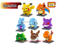 8pcs/lot LOZ Pokemon Figure Bricks Pikachu Model Cartoon Toys Japan Anime LOZ Building Block Children Gifts Educational DIY Toys