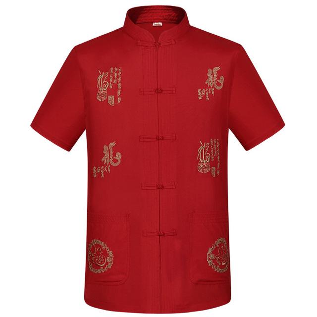 Классический красный мандарин воротник рубашки китайской традиционной мужская льняная ...