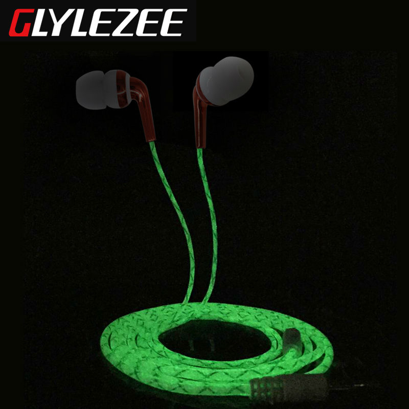 Glylezee G2 Luminous Earphone Earpieces Stereo Bass Headset MP3 Music Headset for Cellphone with Retail Package