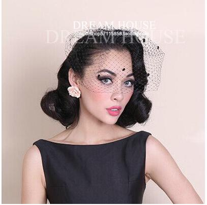 Vintage European style contracted pure manual big mesh veil black hair accessories clothing collocation headwear(China (Mainland))
