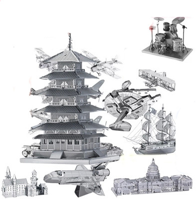 Free Shipping 2015 Hot Sales 3D pure hand metal puzzles famous building or airport in the world adult or Children puzzle Toys(China (Mainland))