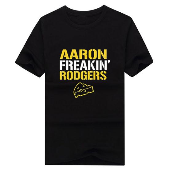 NEW 2017 Fashion Men's Aaron Freakin' Rodgers Green Bay Packers Men's T-Shirt Short Sleeve 100% Cotton(China (Mainland))