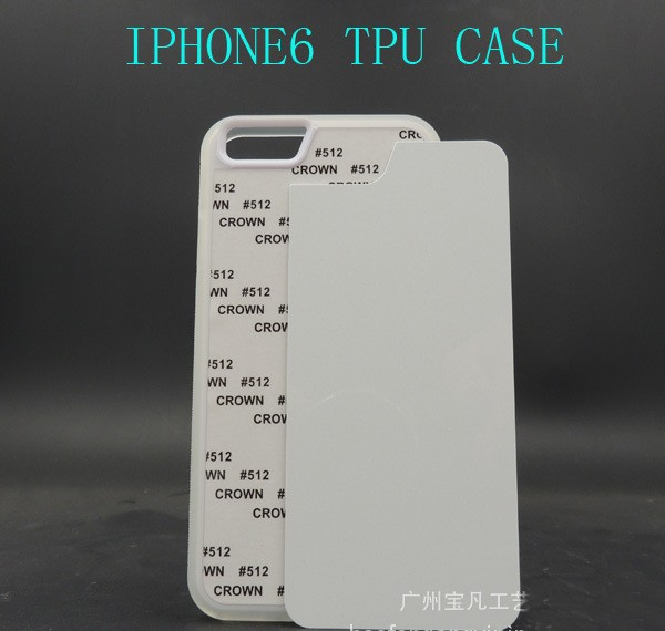 10pcs/lot White Black Transparent Blank 2D Sublimation soft rubber TPU PC Groove Case for iphone 6/6S with Aluminum Inserts glue
