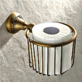 Antique Brass Wall Mounted Roll Toilet Paper Basket Luxury Bathroom Cosmetic Storage Holder