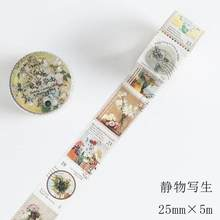 25mm * 5 m serie de sellos celebridades Retro pinturas famosas planta verde seta decoración Washi cinta DIY Scrapbooking Masking cinta(China)