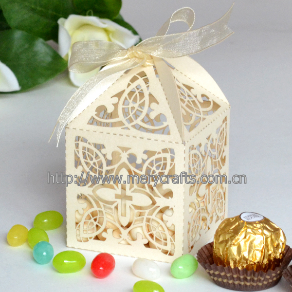 Cross Laser Cut Pearlised Paper Favour Boxes With Ribbon For Wedding Christening Baptism Party(China (Mainland))