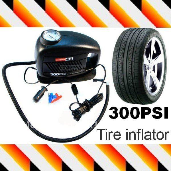12V Portable car pump Auto Air Compressor/Tire inflator 300PSI with Air gauge