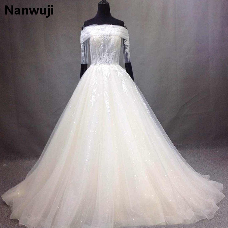 2017 New Arrival Elegant A-line Wedding Dress robe de mariage White&Ivory Boat Neck Wedding Gowns Half Sleeves vestido De noiva