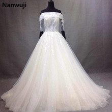 Buy 2017 New Arrival Elegant A-line Wedding Dress robe de mariage White&Ivory Boat Neck Wedding Gowns Half Sleeves vestido De noiva for $299.00 in AliExpress store