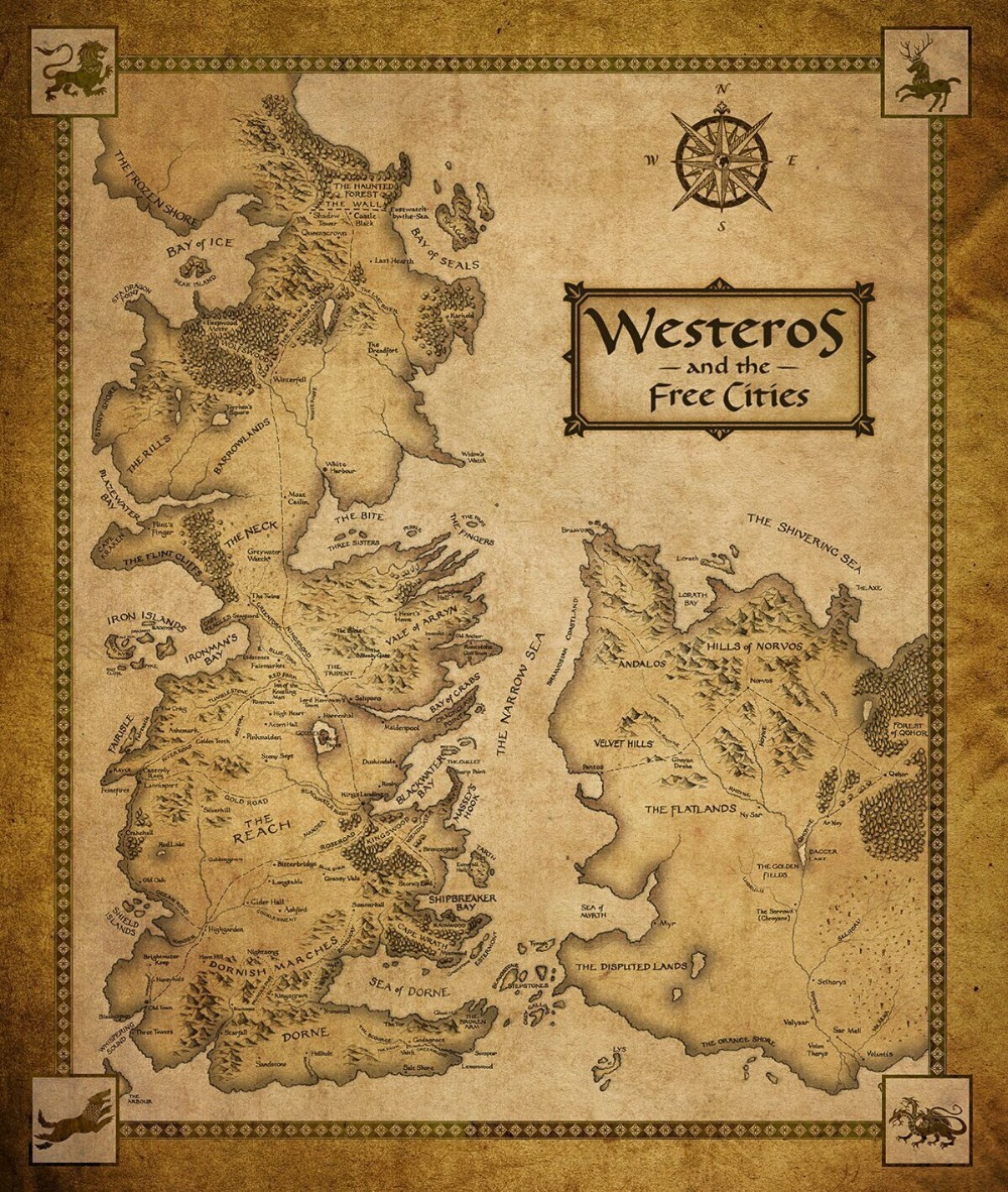 24X36 INCH / ART SILK POSTER / Game Of Thrones Houses Map Westeros And Free Cities poster home decoration wall Sticker(China (Mainland))