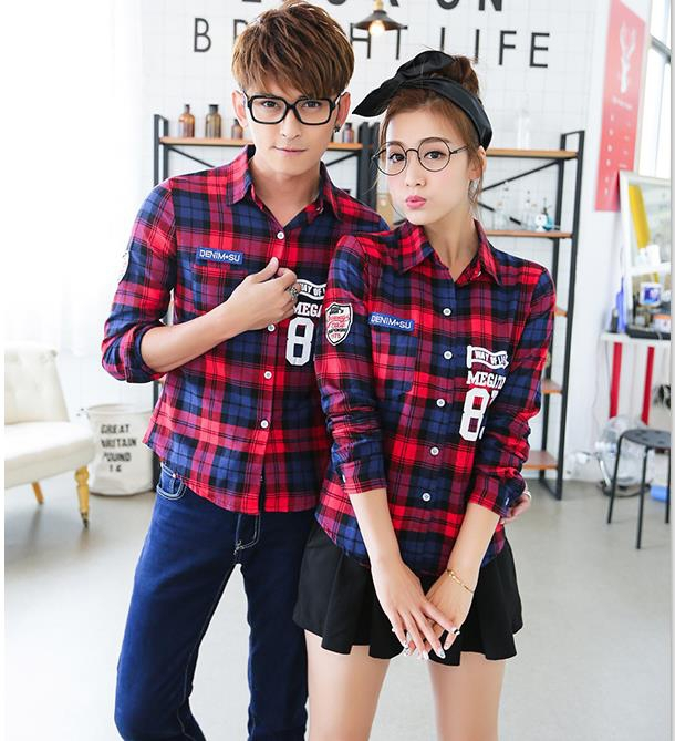 couple clothes lovers casual top red green plaid cute