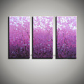 Purple pink picture hand painted wall 3 piece canvas art acrylic tree oil painting on canvas