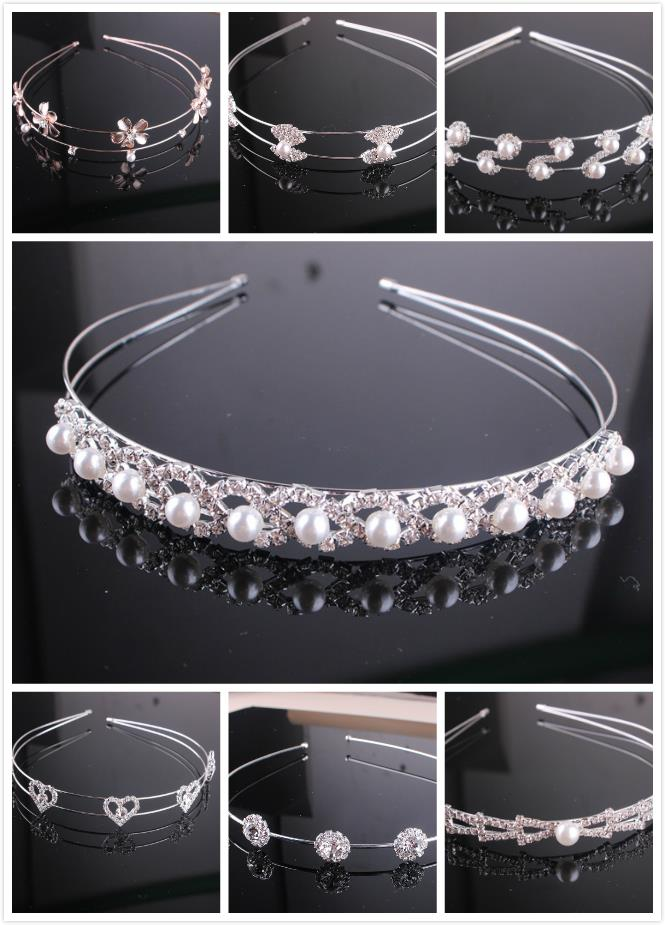 Korean Fashion Bridal Hair Accessories Crystal Snowflake Pearl Headband Bow Head Hoop For Women Romantic Gifts 7Z-XN018(China (Mainland))