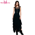 Boho People hippie Style Asymmetrical embroidery Sheer lace dresses double layered ruffled trimming sexy low V