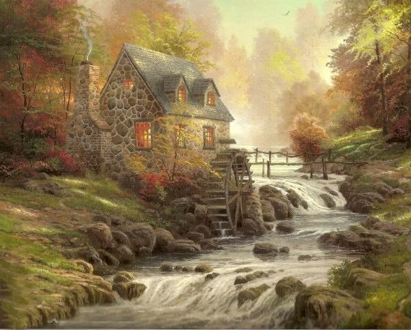 Oil painting Foothill Autumn Mill house river 24x36Inch Guaranteed 100% Free shipping