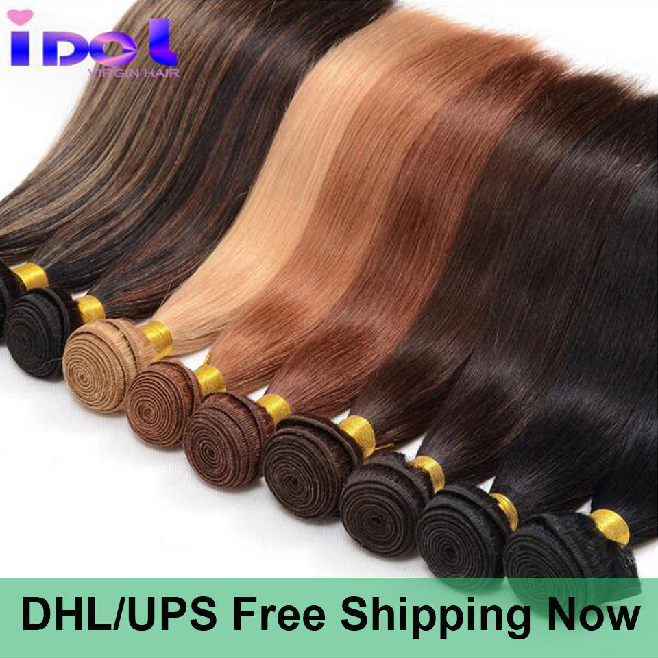 Cheap 8A Unprocessed Yaki Human Hair 1 Bundle Brazilian Light Straight Colored Virgin Weave - idoli official store