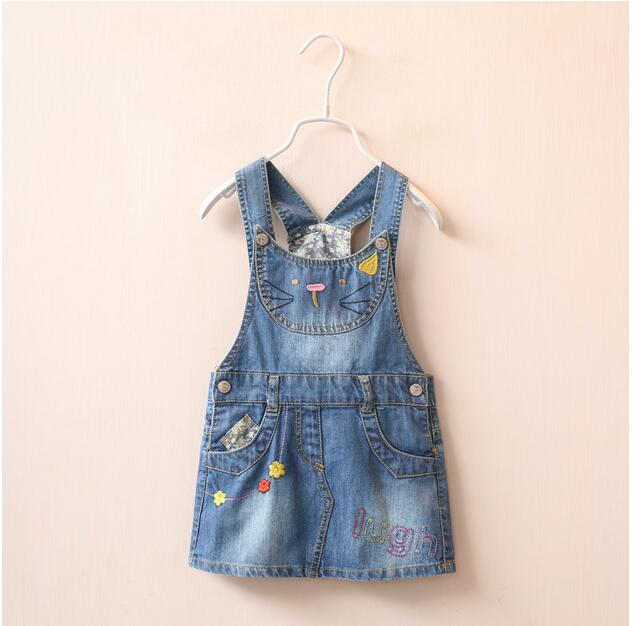 1513341 Wholesale 2016 New Fashion Baby Girls Dresses Denim Embroidery Cat Suspendents Girls Princess Dress Kid Clothes Supplier<br><br>Aliexpress