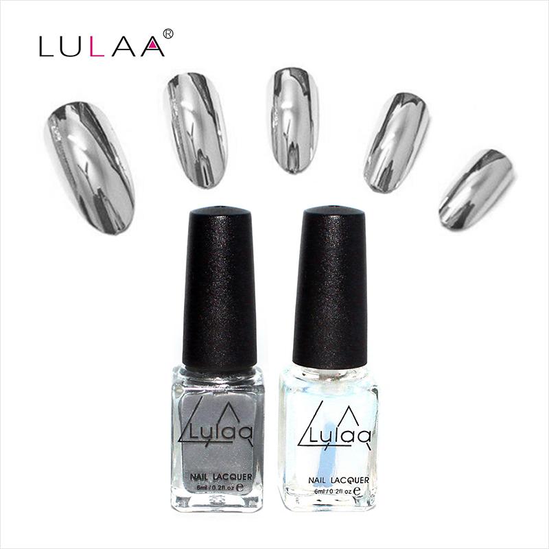 2016 fashion 2pc/lot 6ml Silver Mirror Effect Metal Nail Polish Varnish Top Coat Metallic Nails Art Tips nail polish set(China (Mainland))