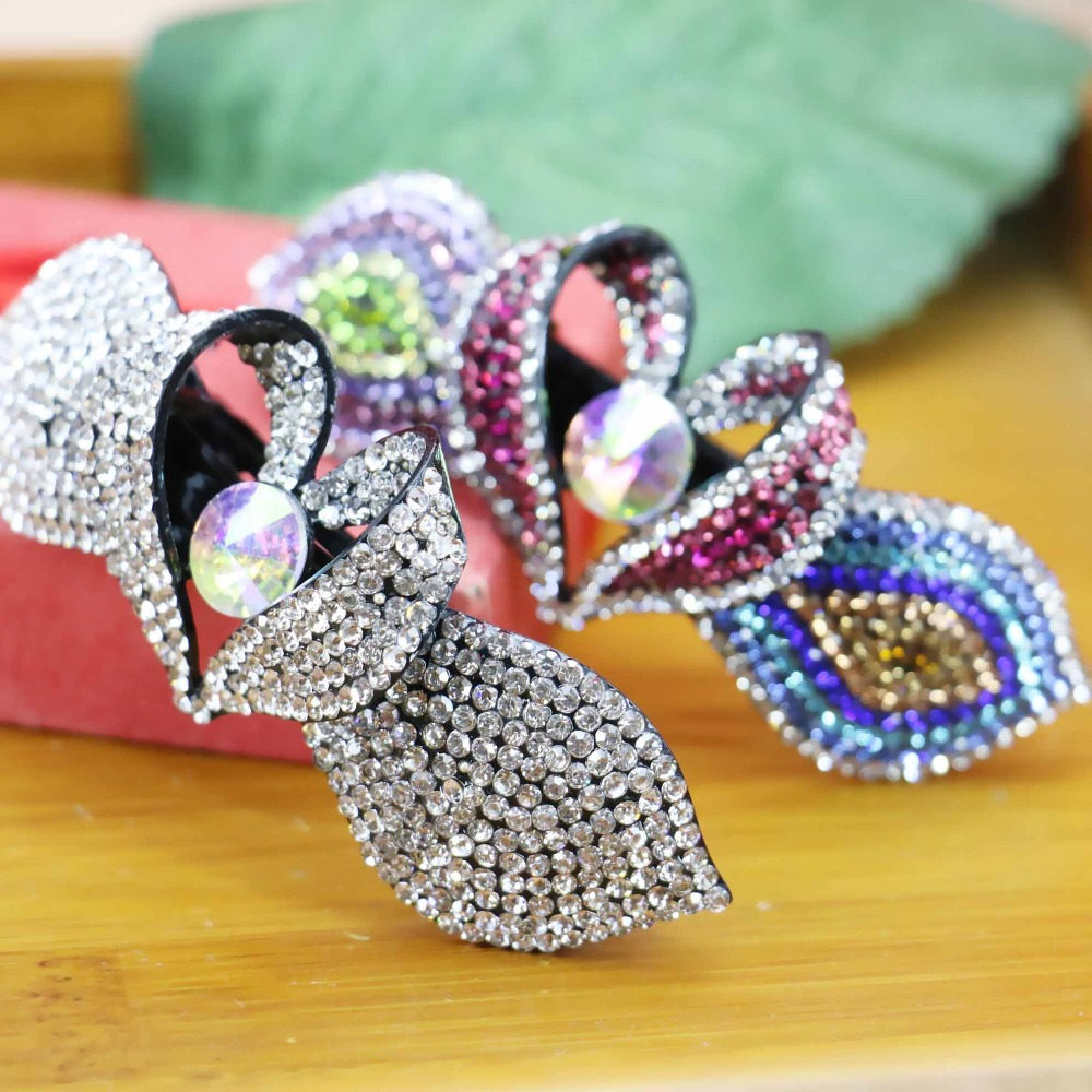 40*93mm Hot Korean style Hair Clip Accessory Wedding Headdress Crystal beads For Girls women Rhinestone Gifts Butterfly Hairpins(China (Mainland))