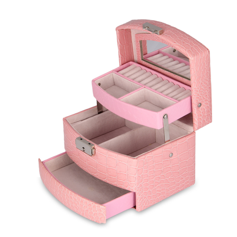 2015 Faux Leather Large Sector Jewelry Box with Handle Jewelry Case Storage US CA shipping available(China (Mainland))