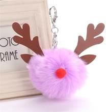 Adorável Cervos Do Natal Keycahin Pompom Fofo Pele De Pelúcia Boneca Chaveiro Bolsa Chaveiro Mulheres Homens Moda Jóias Presente Do Xmas(China)