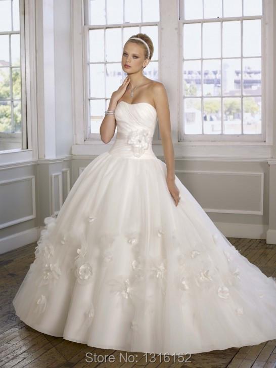 Free shipping new fashionable flower adornment princess wedding dress, white organza wedding dress custom size delivery fast(China (Mainland))