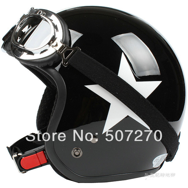 "E.146 3/4 Taiwan "" SYC NEW Scooter Casco Open Face Casque Motorcycle Bright Black # White Star Helmet & UV Goggles Visor - Chinese Products Co.,Ltd store"