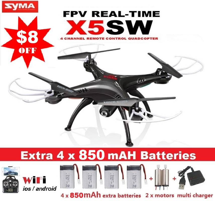 SYMA X5SW X5SW-1 FPV Drone X5C Upgrade WiFi Camera Real Time Video RC Quadcopter 2.4G 6-Axis Quadrocopter With 5 Battery(China (Mainland))