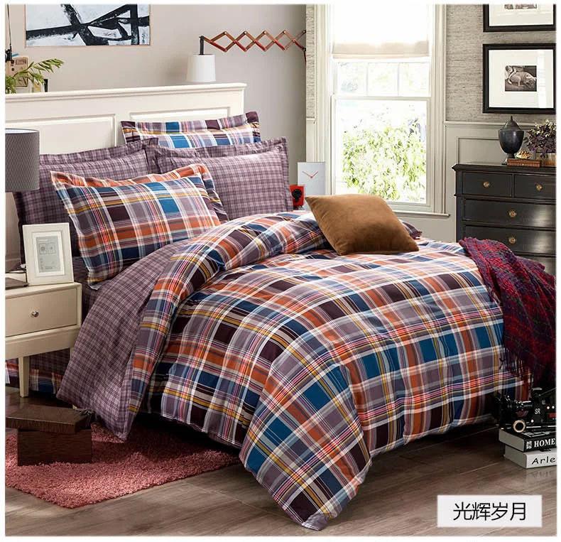 Blue grey black orange plaids bedding set cotton