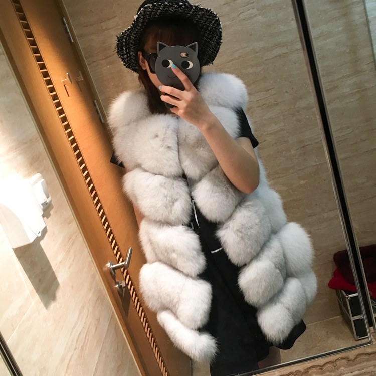 Thick Natural Fox Fur Vest Woman Genuine Coat Women's Real Furs Vests Jacket Winter Warmest Waistcoat - store