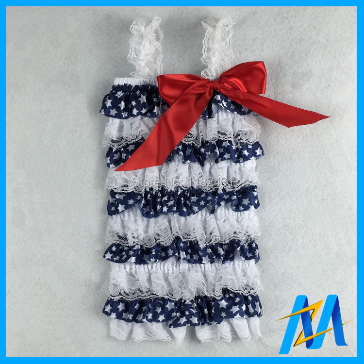 Baby 4th July Petti Lace Rompers White Red Blue America Flag Clothes Patriotic DHL Free 2 - Fancy E-Commerce Firm store