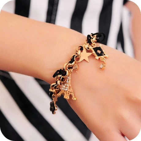 246 Sales Vintage Tower Poker Clover Crystal Leather Chain Bracelet & Bangles Wristband for Women Jewelry,Free Shipping Mix $8(China (Mainland))