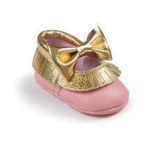 Romirus חדש תיקון דפוס עור מפוצל יילוד תינוקות פעוט ילד ראשון הליכונים קשת תינוק מוקסינים רך בלעדי בנות שמלת נעליים(China)