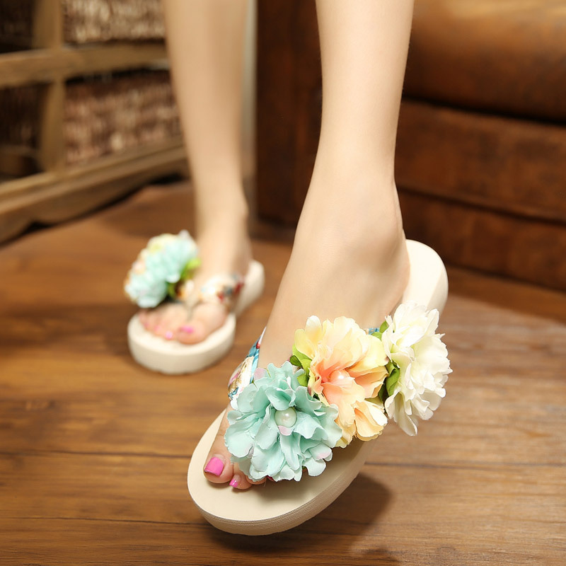 2016 women flower sandals pure handmade flowers with satin summer flip flops resort beach shoes factory direct wholesale slip(China (Mainland))