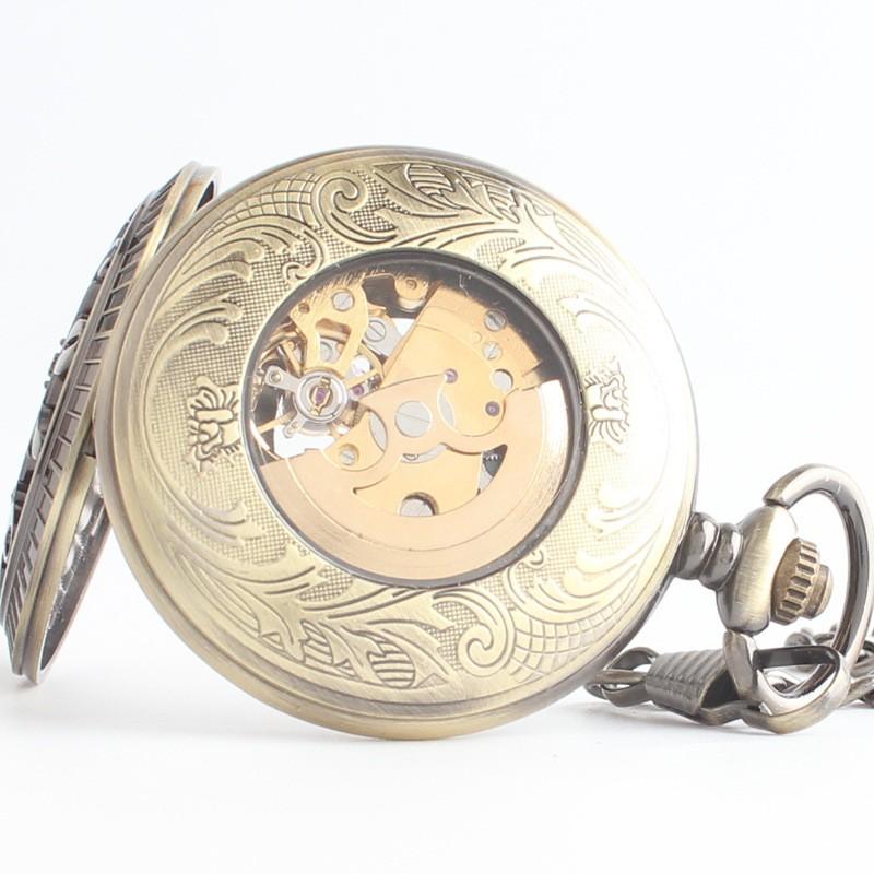 Творческий ретро флип полые автоматические механические часы мужские и женские студенты повесить классический Арабский
