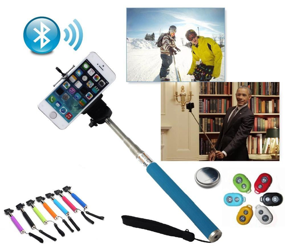 Hot Wireless Selfie Stick Handheld Monopod +Clip Holder+Bluetooth Shutter Remote Controller for iPhone Samsung Extendable Selfie(China (Mainland))