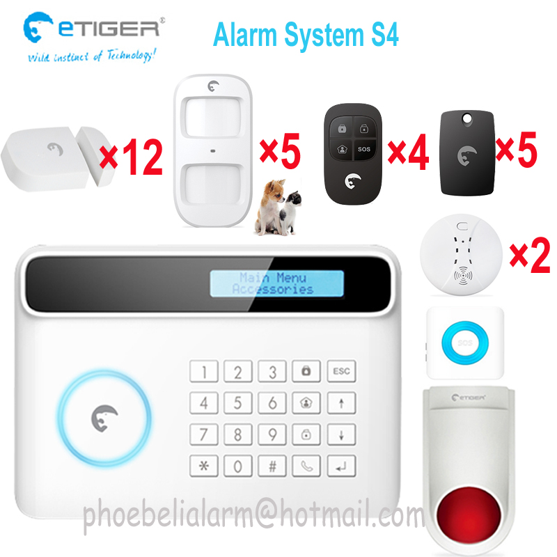 Original etiger security system wireless 433mhz signal set with Pet immune motion detector home security alarm gsm <br><br>Aliexpress