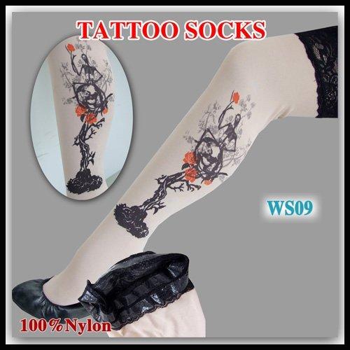 2012 new Style  Women's Tattoo Stockings Leggings  Sexy Tattoo socks, Temporary tattoo  50pairs/lot