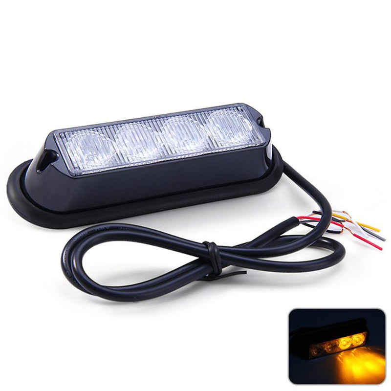 Car Truck Emergency Strobe Flash Light Waterproof Auto External Light with Amber Light 12V 4W 4 LEDs for Vehicle(China (Mainland))