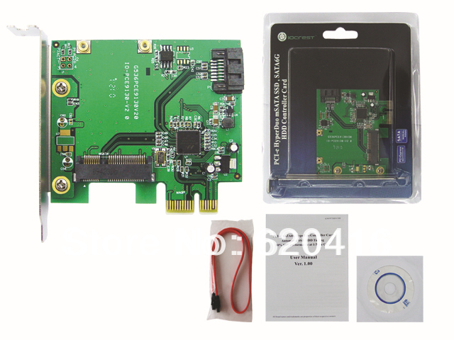 IOCREST HyperDuo mSATA Solid-state Drive (SSD), and SATA 6G HDD PCI-e with short sheetiron