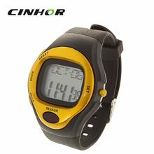 Mujeres y hombres del deporte exterior tipo de contacto frecuencia del pulso calorías del contador del reloj con alarma – negro + oro ( 1 x CR2025 )