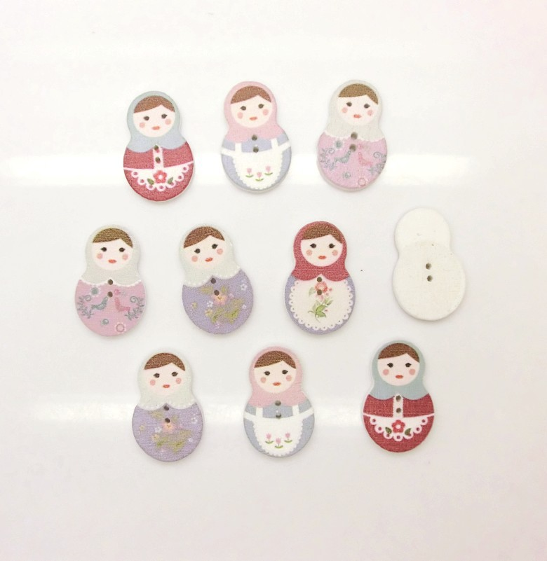-10Random Mixed Lovely Russian Doll 2 Holes Wood Painting Sewing Buttons Scrapbooking 19x29mm,J1483 - store