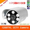 Free shipping 2016 NEW 1 3 SONY CCD HD 1200TVL Waterproof Outdoor security camera 6 Pcs