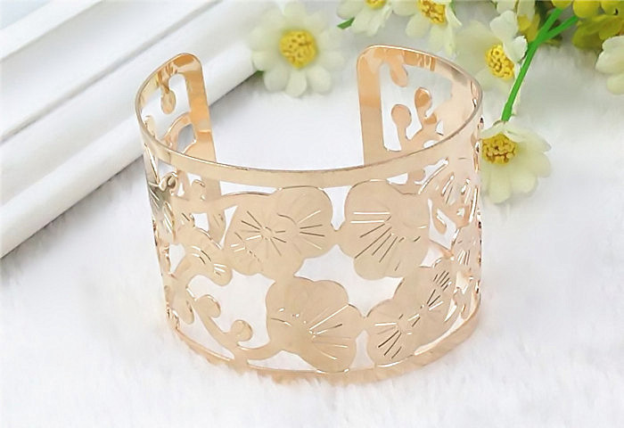4pcs/lot 2016 Euro-American Fashion Printed Flower Hollow Out Bracelet Metal Plated Bangles Wholesale JY-8730