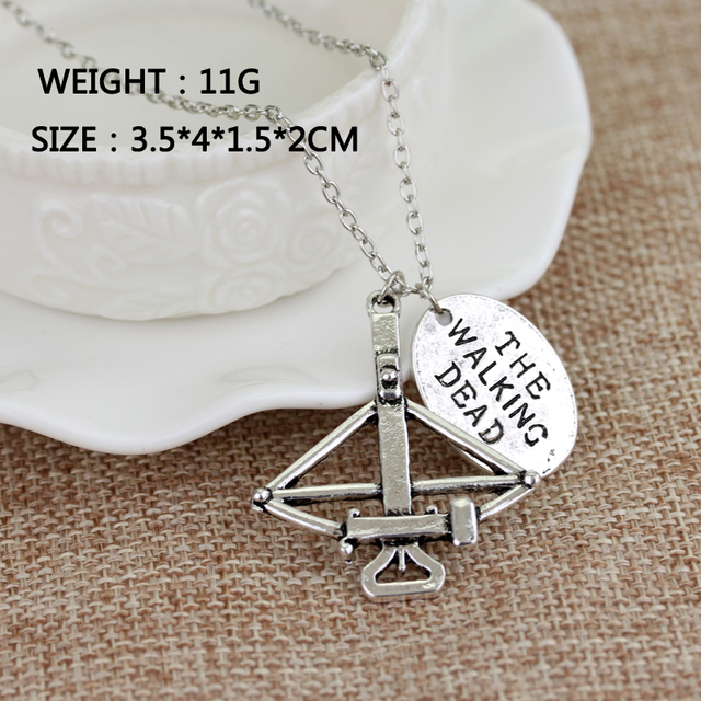 """The Walking Dead Crossbow Necklace with """"FEAR THE LIVING"""" Charm"""