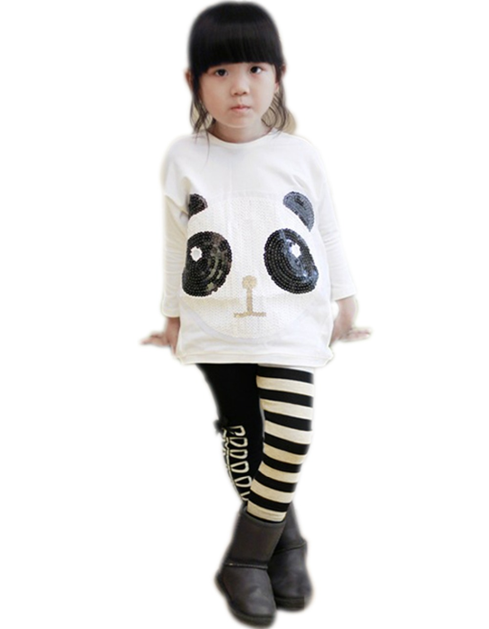 Retails 1set New Girls Outfits Panda Pullover Coat +Striped Pants Leggings Clothing Sets Kids Cartoon Suits 66 - Lovely Babies' Store store