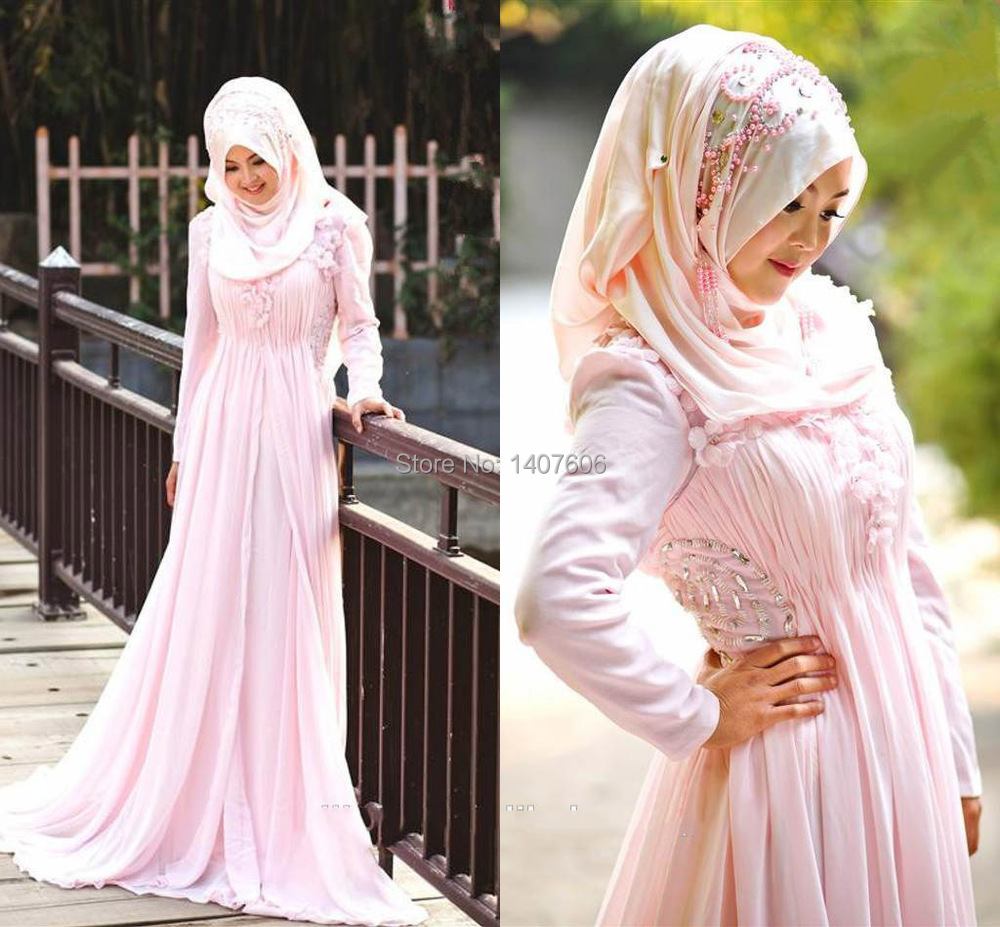 2015 New Fashion Customized A Line Beaded Crystal Arabic Hijab New Style Pink Color In Dubai