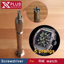 new design 2.7mm 5 prongs precision rm watch screwdriver blade made for rm055 rm035 rm019 rm065 bezel  case back pentagon  screw(China (Mainland))