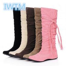 2015 del tamaño grande 35-43 cargadores de moda borla dulce estilo mujeres Boot rodilla altos cargadores de la nieve zapatos calientes del invierno IWTM-3940(China (Mainland))